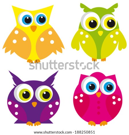 Set of owl. Vector - stock vector