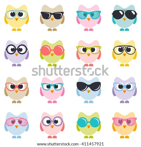 set of owls with sunglasses - stock vector