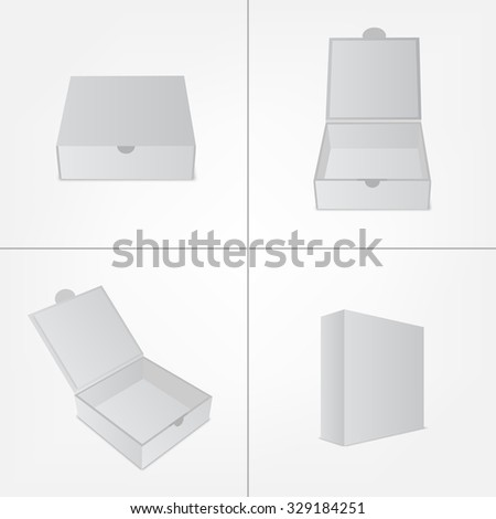Set of packaging design box mockup. Gray square shape in four views. Mock-up template ready for your branding design.  Vector EPS10 illustration. - stock vector