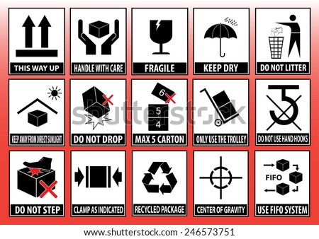 Set Packaging Symbols This Side Up Stock Vector Royalty Free
