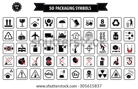 Set Packaging Symbols This Side Up Stock Vector 305615837