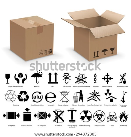 Set of packing symbols with two realistic cardboard boxes - stock vector