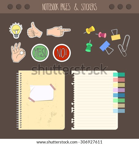 Set of pages notebook with stickers, colored tape, staples. Template for school accessories, scrapbook, wrapping, notebooks, diary, decals. - stock vector