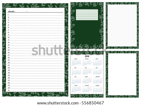 Set Pages Template Daily Planner Printable Stock Vector 556850467