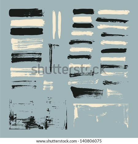 set of paint brush strokes - stock vector