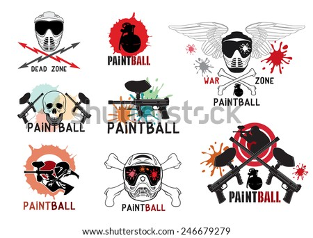 Set of  paintball logo, labels, emblems and designed elements.  - stock vector