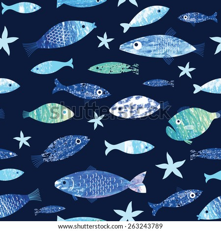 set of painted fish on the dark background - stock vector
