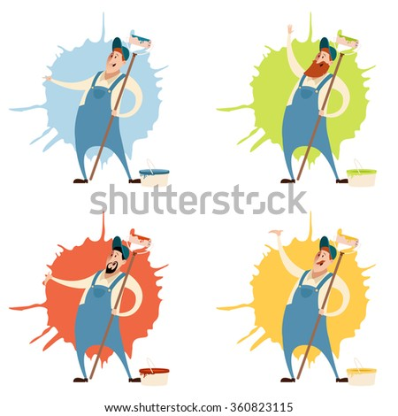 Set of painters - stock vector