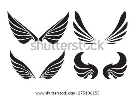 Set of 4 pair of decorative vector wings isolated on white. - stock vector
