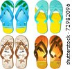 Set of 4 pairs of flip flops with tropical designs - stock vector