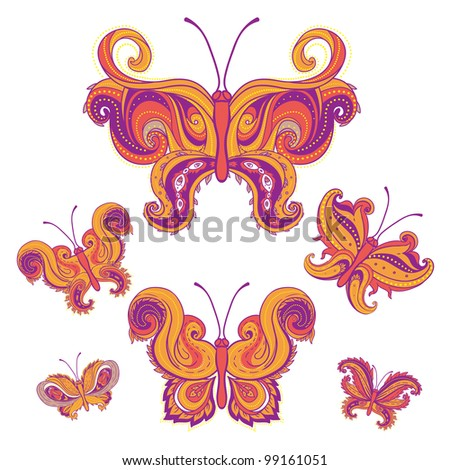 Set of paisley butterflies isolated on white background.  Hand-Drawn ornate vector illustration design elements. - stock vector