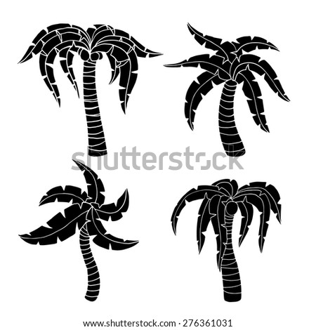 Set of palm tree. Vector illustration, Isolated on white - stock vector