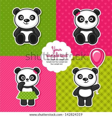 set of panda bears - stock vector