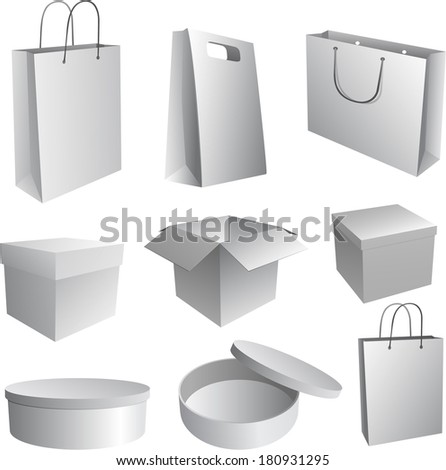 Set of paper bags and boxes for branding - stock vector