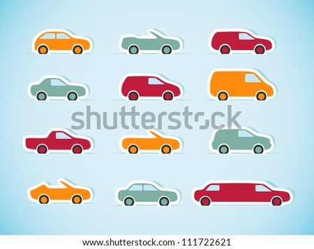 Set of paper cars. Vector illustration.	 - stock vector