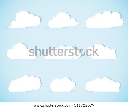Set of paper clouds. Vector illustration.