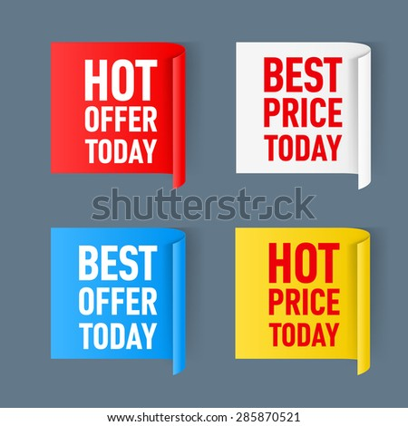 Set of  paper color sticker isolated on a white background