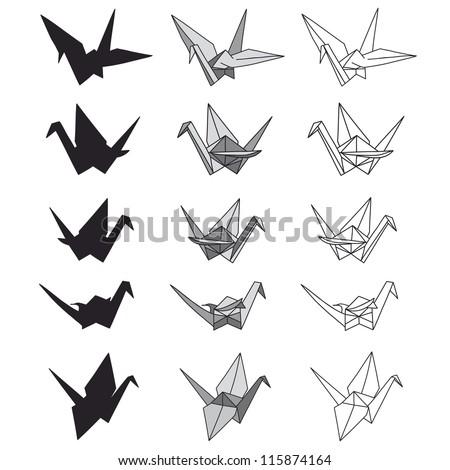 Set Paper Cranes On White Origami Stock Vector 115874164 ...