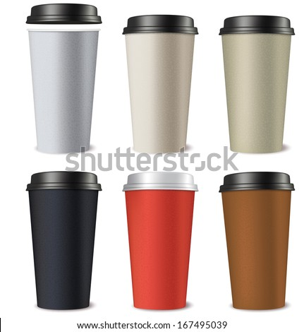 Set of paper cups isolated on a white background. Vector illustration - stock vector