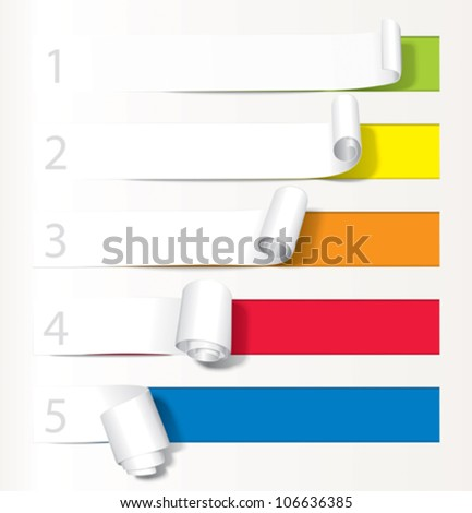 Set of paper curl from less to more. - stock vector