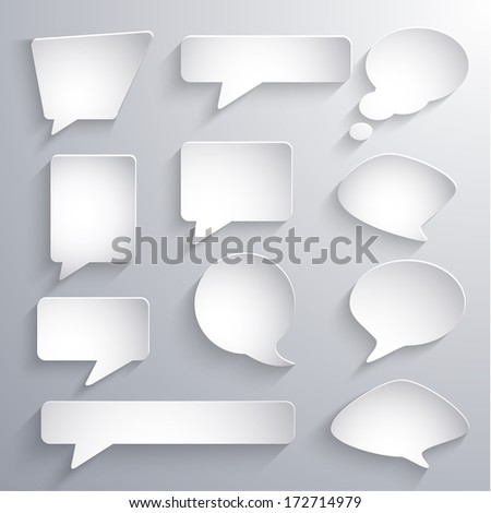 Set of paper 3d speech bubbles - eps10 vector - stock vector