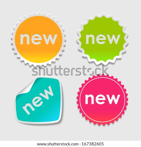 Set of  Paper Design Tags and Labels / Cursor Hand Stickers. Vector - stock vector