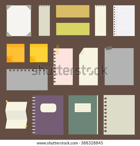 set of paper designs. paper sheets, lined paper and note paper - stock vector