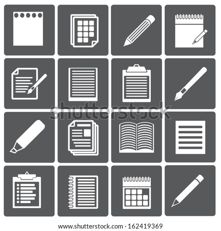 Set of paper documents and pencils icons. Vector design