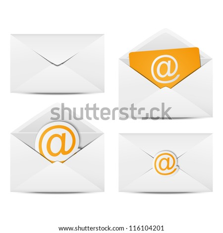 Set of paper Email envelopes - stock vector