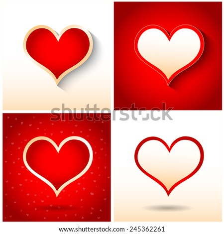 Set of paper hearts with shadow, Valentine's day card, Vector Illustration EPS 10. - stock vector
