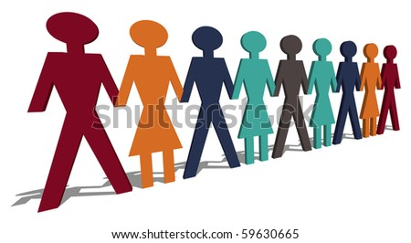 set of paper persons link by hands - stock vector