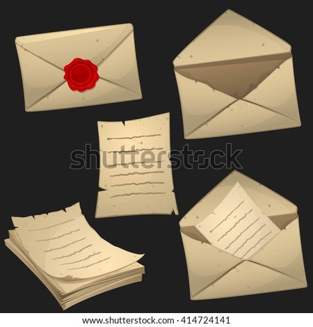 Set of paper sheets and envelopes in cartoon style. Game icons, vector objects set. - stock vector