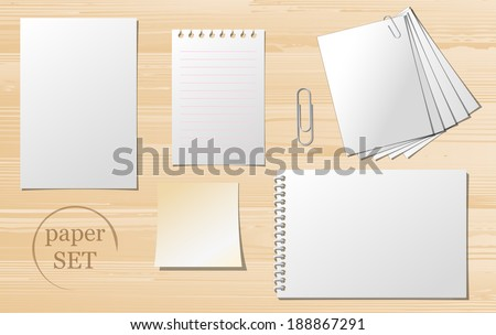 Set of paper sheets, lined paper and note - vector illustration.