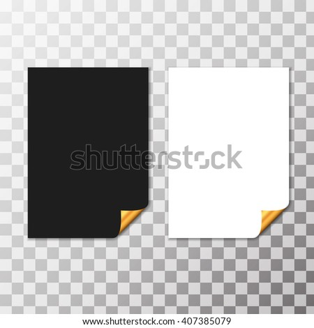 Set Of Paper Sheets With Golden Curled Corner. Vector - stock vector