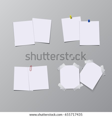 Set of paper sheets with pin, adhesive tape and clip isolated on gray background.