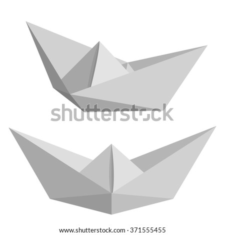 Set of paper ships isolated on white background. Origamy. Low poly style vector illustration.
