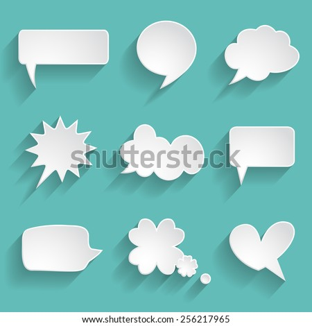 set of paper speech bubbles - stock vector