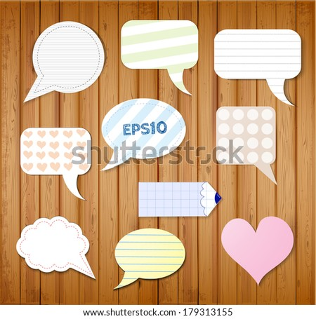 Set of paper speech bubbles for your design. Vector illustration