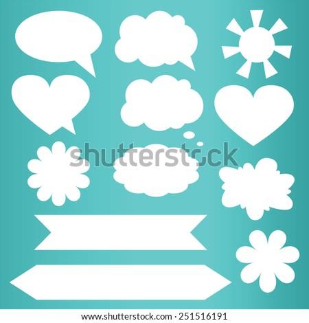 Set of paper speech bubbles, vector illustration. - stock vector