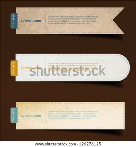 Set of paper, stickers, labels, tags. Vector template - stock vector