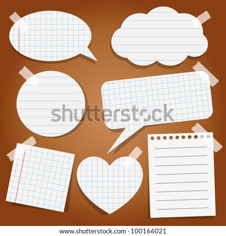 Set of paper stickers with tape - stock vector