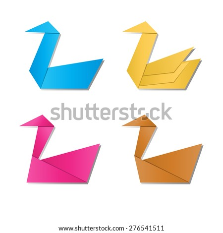 Set of paper swan and paper goose , vector animal symbol - stock vector