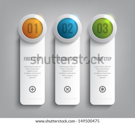 Set of paper tags / labels banners with shiny silver metallic ring buttons for business design, reports, infographics, progress, number options, step presentation or workflow layout. Clean style - stock vector