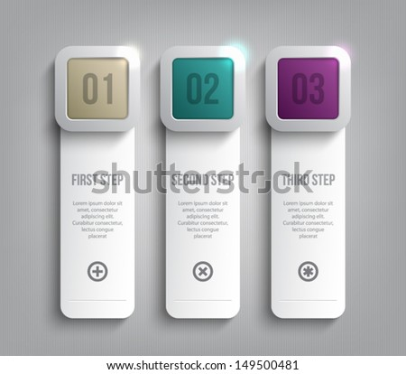 Set of paper tags / labels banners with shiny silver metallic square buttons for business design, reports, infographics, progress, number options, step presentation or workflow layout. Clean style - stock vector