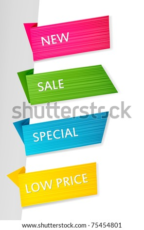 Set of paper tags. Vector background. - stock vector