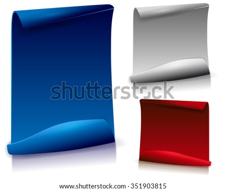 Set of papers with bent corner and shadows on white background - vector illustration - stock vector