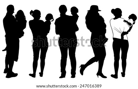 set of parents holding kids - stock vector