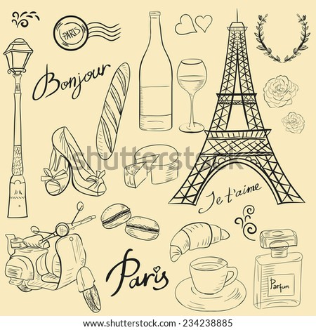 Set of Paris symbols and elements in color. Translation of phrases: hello, I love you, perfume