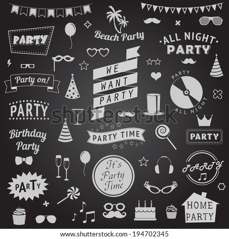 set of party icons  Vector signs and symbols templates for your design - stock vector