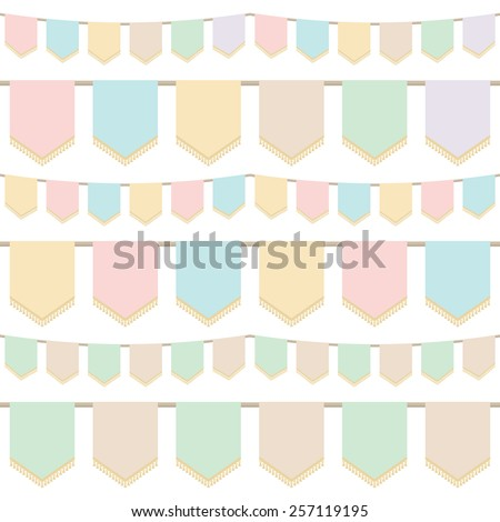set of pastel tasselled horizontally seamless bunting, isolated on white - stock vector